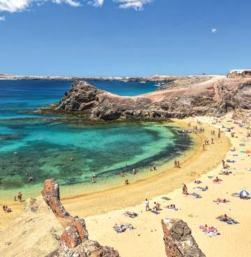 The idyllic Papagayo Beach in Lanzarote