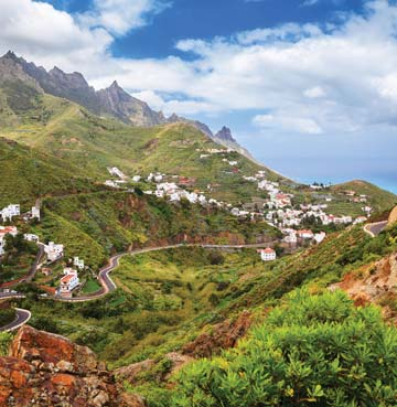 View of mountain village in Anaga Country Park, Tenerife
