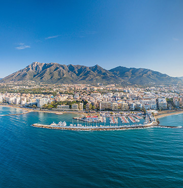 Panoramic view of the coastline of Costa del Sol, Spain