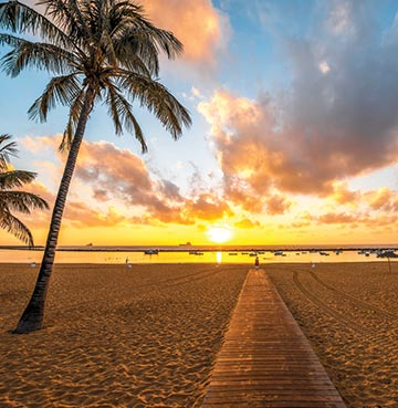 A beautiful golden sunset on a beach in the Canary Islands
