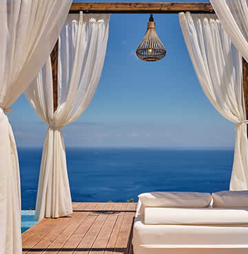 Panoramic views from a luxury, poolside cabana in Zakynthos