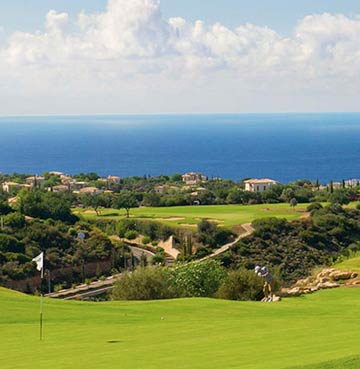Looking over the golf course and sparkling Mediterranean Sea from Aphrodite Hills