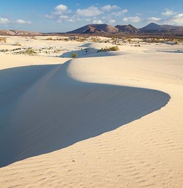 View of sand landscape in Fuerteventura, Spain