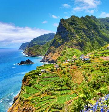 Lush, mountainous coastline in Madeira