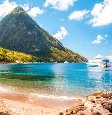 Azure blue waters, golden sands and the icon Gros Piton