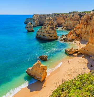 View of a rocky cove in the Algarve, Portugal