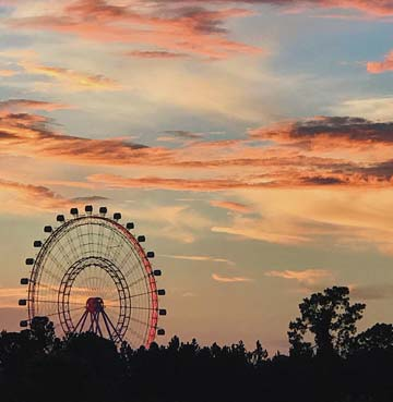 View of theme park and ferris wheel in the evening