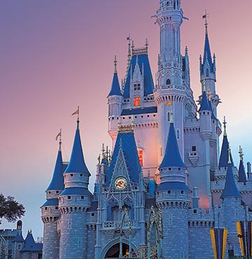 Magic Kingdom's Cinderella Castle at Sunset, Orlando, Florida