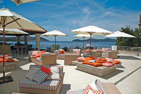 Modern, plush seating area at the Sun Gardens Resort in Dubrovnik