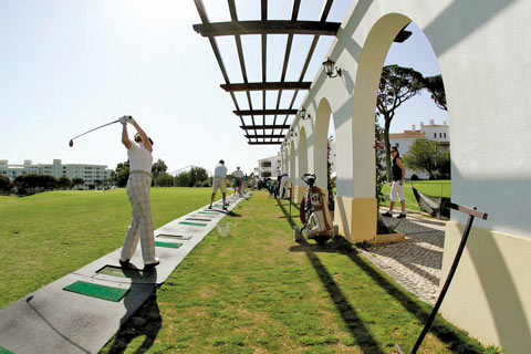 The driving range at Pine Cliffs Holiday Resort in the Algarve, Portugal