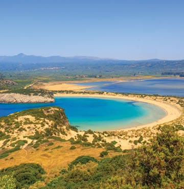 Looking over Voidokilia Bay in Peloponnese