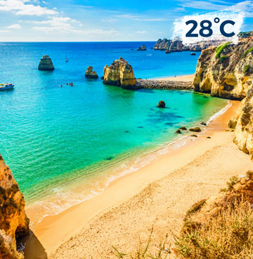 Golden sands and craggy cliffs in the Algarve