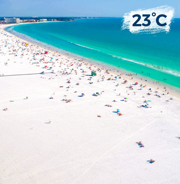 Powder-white sands meet the calm turquoise sea waters of the Gulf Coast