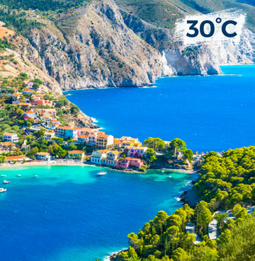 Dramatic cliffs and mountains meet the glimmering Ionian Sea