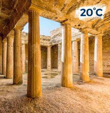 Ancient architecture at Paphos' archaeological site