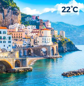 Candy-coloured towns along the Amalfi Coast