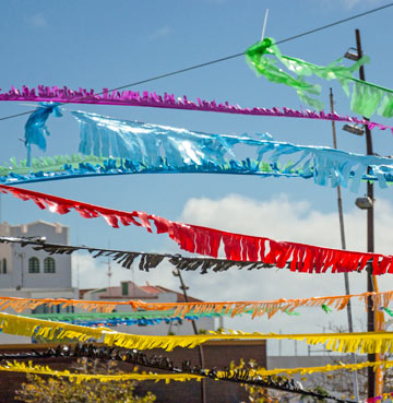 Colorful bunting decorating the streets of Lanzarote