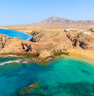 Beautiful views of Papagayo Beach from above in Lanzarote
