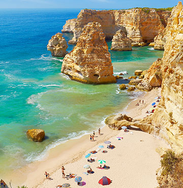 Praia de Marinha beach in the Algarve, Portugal. Perfect for large family holidays