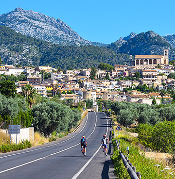Cycling into town in Mallorca
