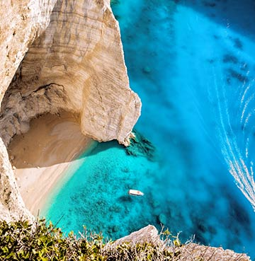 Azure waters at Navagio Beach, Zakynthos