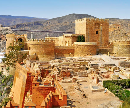 The walls of Alcazaba Palace and Fortress, Almeria