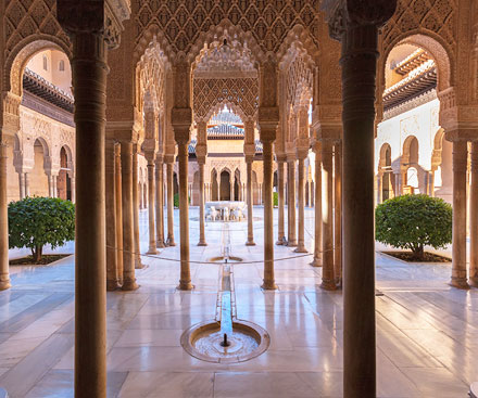 Courtyard view in Alhambra Palace, Andalucia