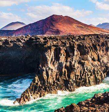 View of rocky and mountainous landscape in Lanzarote