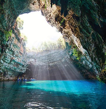 View of Melissani in Kefalona, Greece
