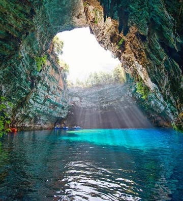 Melissani Lake in Kefalonia, Greece