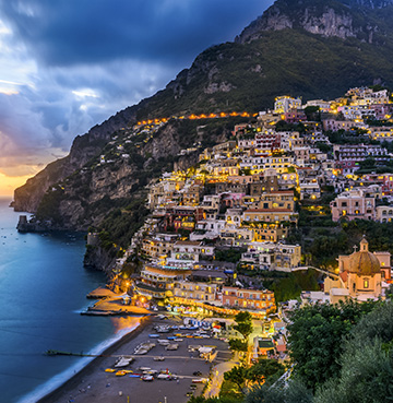 The seaside town of Positano at sunset, Amalfi Coast, Italy
