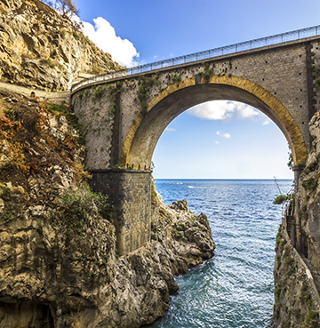 The arched bridge of the Furore Fjored, the Amalfi Coast, Italy