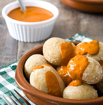 Traditional Canarian dish of Wrinkly Potatoes (Papas Arragudas) with Mojo Picon sauce