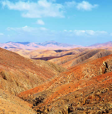 The volcanic landscape of Fuerteventura