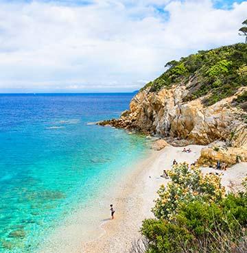 Beautiful beach on Elba Island off the coast of Tuscany, Italy