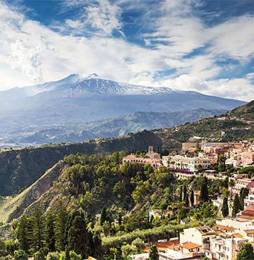 View of Mount Etna with snowy peaks, Sicily, Italy