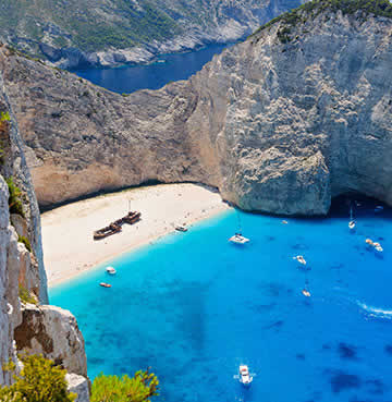 Shipwreck Bay, Zakynthos, viewed from the top of limestone cliffs