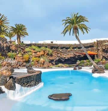 The pool and palm trees of the Jameos del Agua, Lanzarote