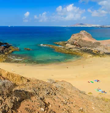 View of Papagayo Beach in Lanzarote