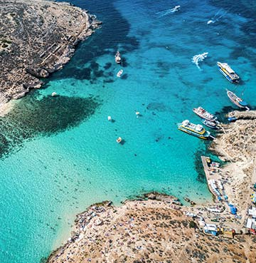 Azure waters of Comino's Blue Lagoon