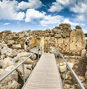 Walkway through the ancient ruins and Megalithic Temples of Gozo