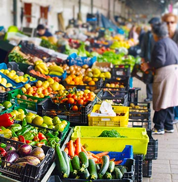 Colourful fruits and vegetable of a Porto market, Portugal