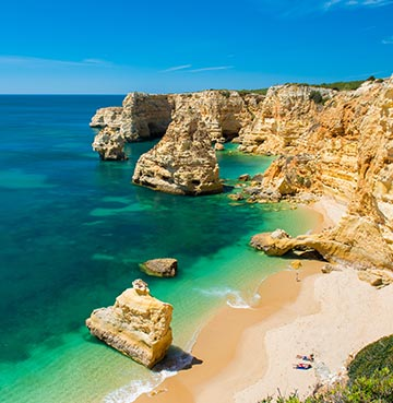 Praia da Marinha beach in the Algarve, Portugal