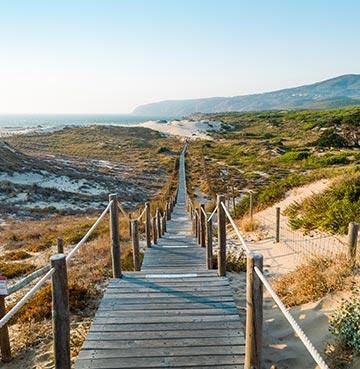 Praia do Guincho beach in the Algarve, Portugal