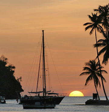 Boats on the water at sunset, Marigot Bay in St. Lucia