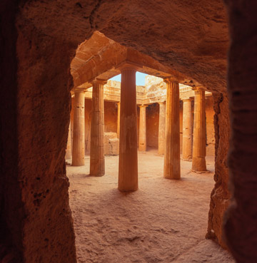 Honey-coloured stone columns of Kato Paphos Archaeological Park