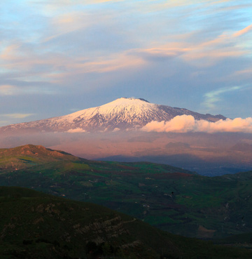 Mount Etna towering over the Sicilian landscape