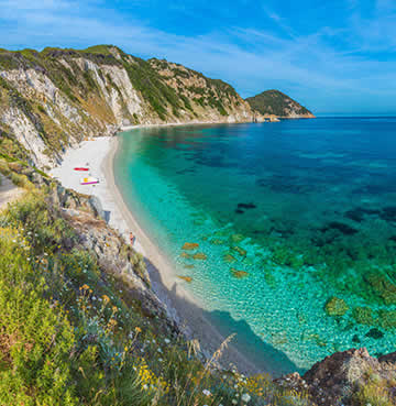 Caribbean style waters of the Tuscan archipelago and Elba Island