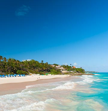 Brilliant blue skies, turquoise seas and palm fringed sands at Crane Beach, Barbados