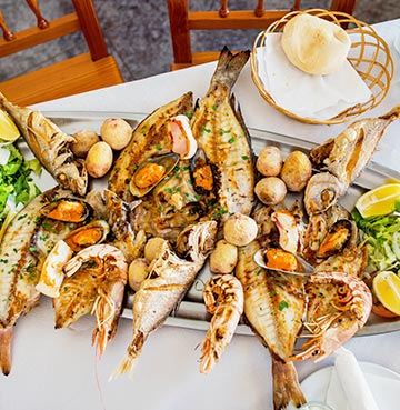 Delicious freshly prepared seafood